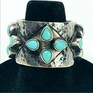 Chunky Ring Turquoise 925 Silver Size 6.5 Hammered